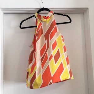 Tops - Vintage Style Tie Neck Silky Top